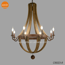 French vintage Wine barrel 8-light wooden chandelier,retro rust wrought iron pendant lamp with CE/UL