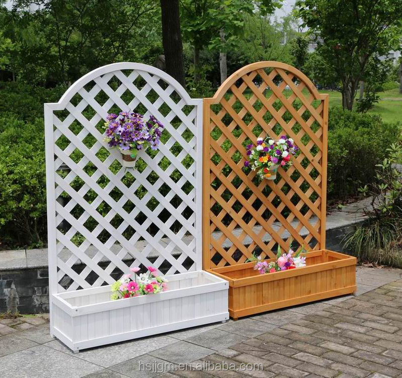 outdoor wood planter box with trellis