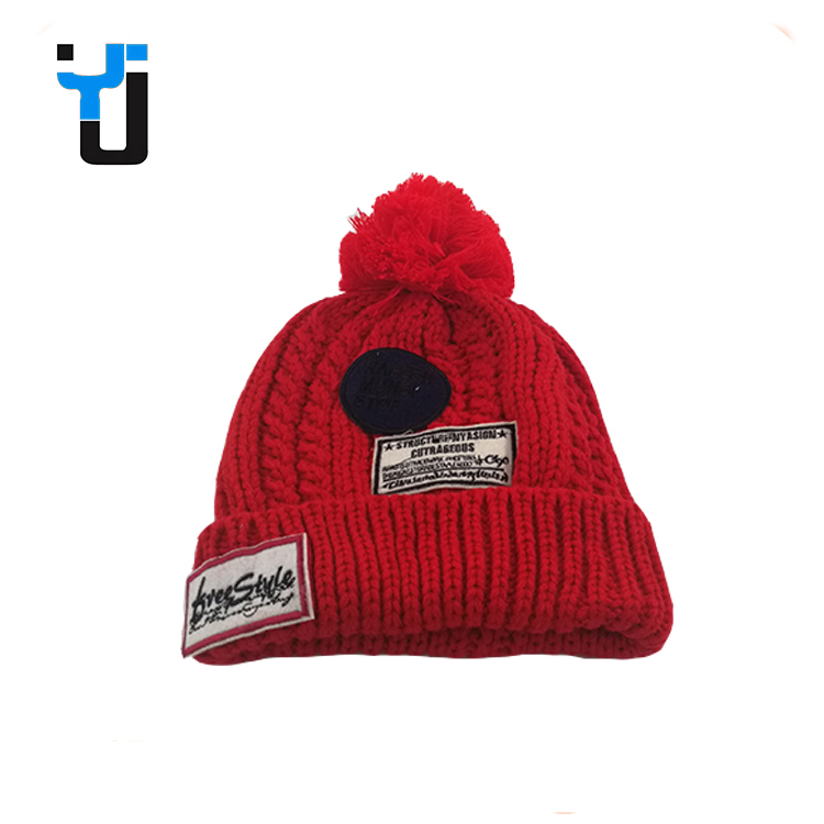 Printing Heavy Yarn Adults Pom Pom Slouchy Decoration Knitted Beanie Winter Cap
