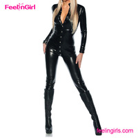 PU Clubwear Sexy Hot Sale Black Fetish Leather Latex Catsuit Women