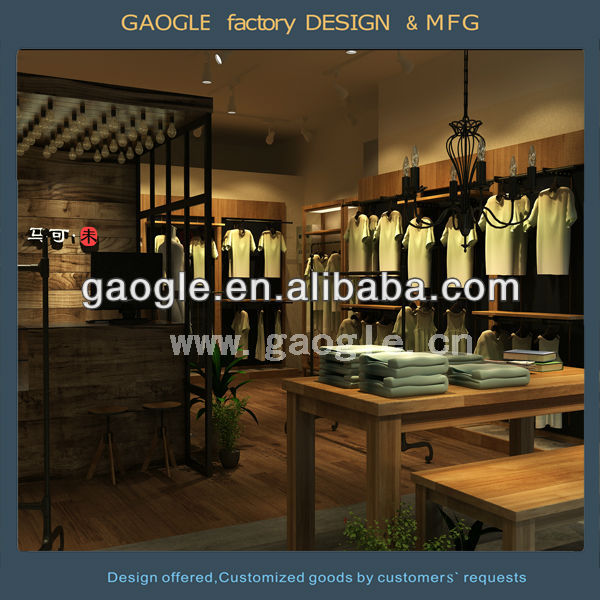 T-shirts store furniture display showcase with led lights/wooden counter design