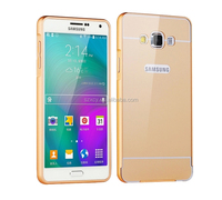 Ultra thin slim metal Aluminum bumper Acrylic PC back mobile phone case cover for Samsung galaxy J7 j7