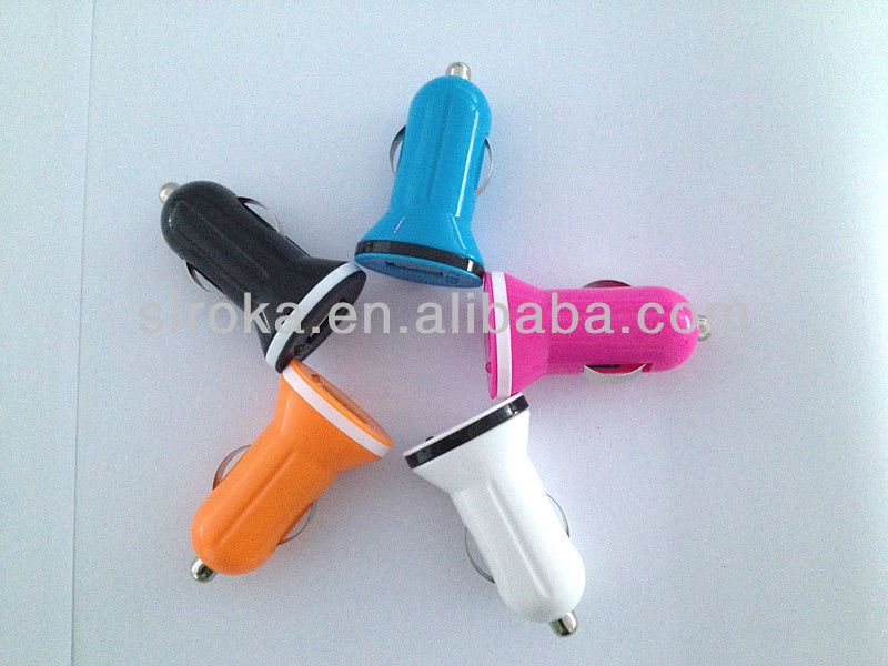 Colorful 5V 1A car charger adaptor single USB in car charger for iPhone 4S iPhone 5 ,iPod, mobile phone