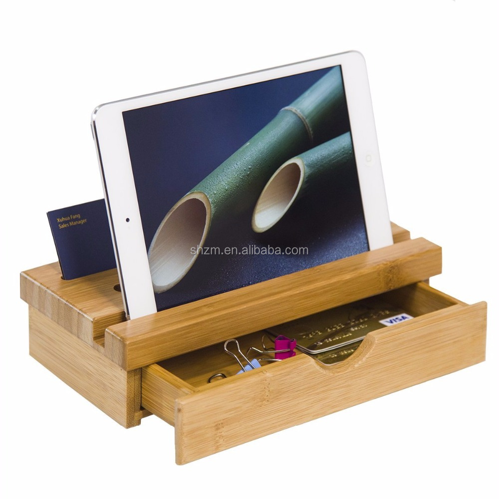 Wholesale Bamboo Bedroom and Office Desktop Organizer,Bamboo Phone Stand with Drawer