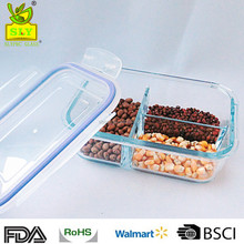 Glass Meal Prep Food Storage Containers Set 3 Compartment with Extra High Divider BPA Free, Microwavable Perfect Portion