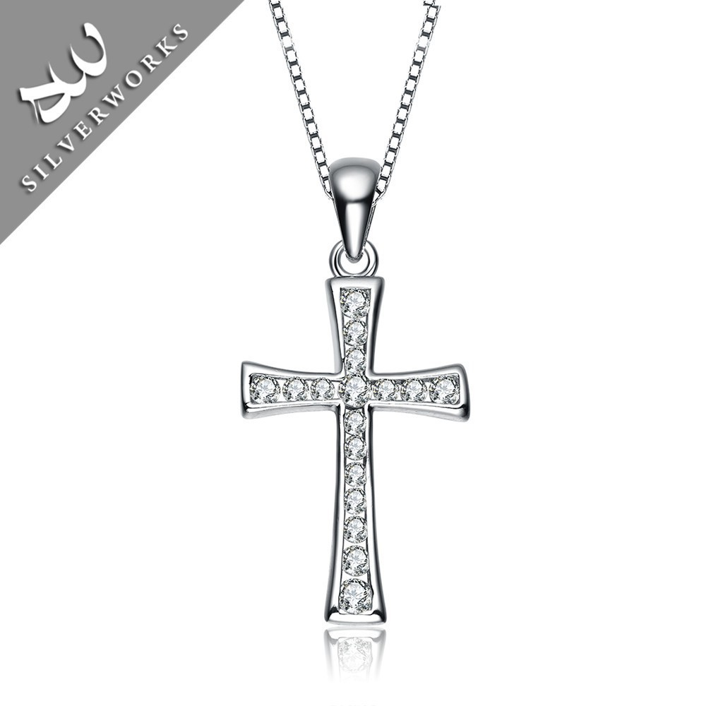 Silverwork promotion 925 silver charm cross necklace pendant for Christmas gift