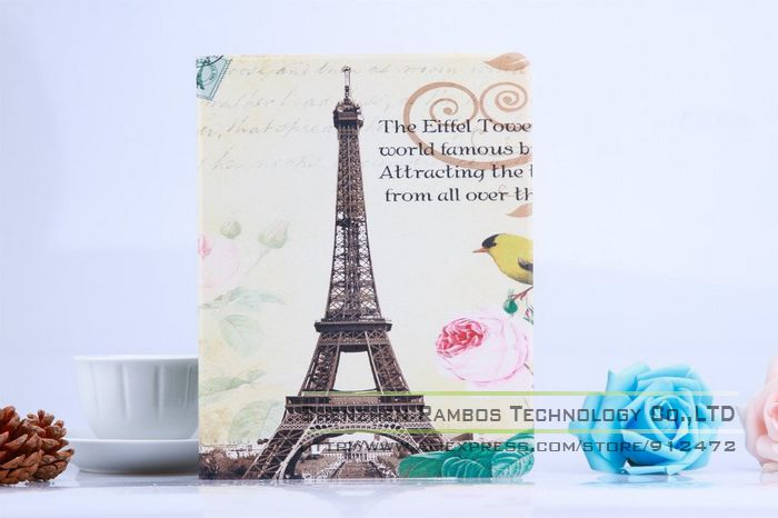 New Fashion Protective Tablet Leather Stand Flip Cover Eiffel Tower Magnetic Hard Leather Case for iPad 2 3 4