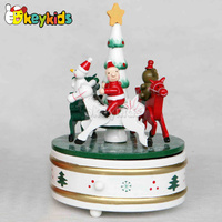 2016 wholesale baby wooden carousel horse music, top fashion kids wooden carousel horse music box W07B011C