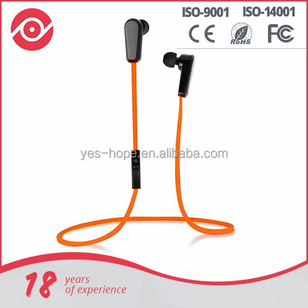 2015 hot sale flat cable different colorful bluetooth stereo earphone