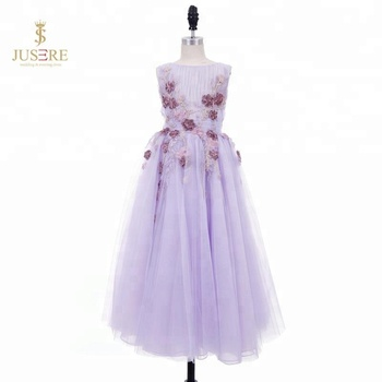 Purple Tulle Lace Ball Gown 3 Year Old Girl Dress