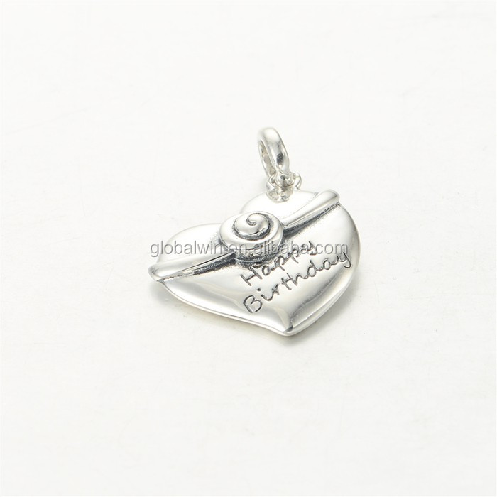 Meaningful Pendant Necklace Letter Silver Pendant Happy Birthday Pendant