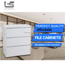 Knock down 3 drawers lateral steel file hanging cabinet