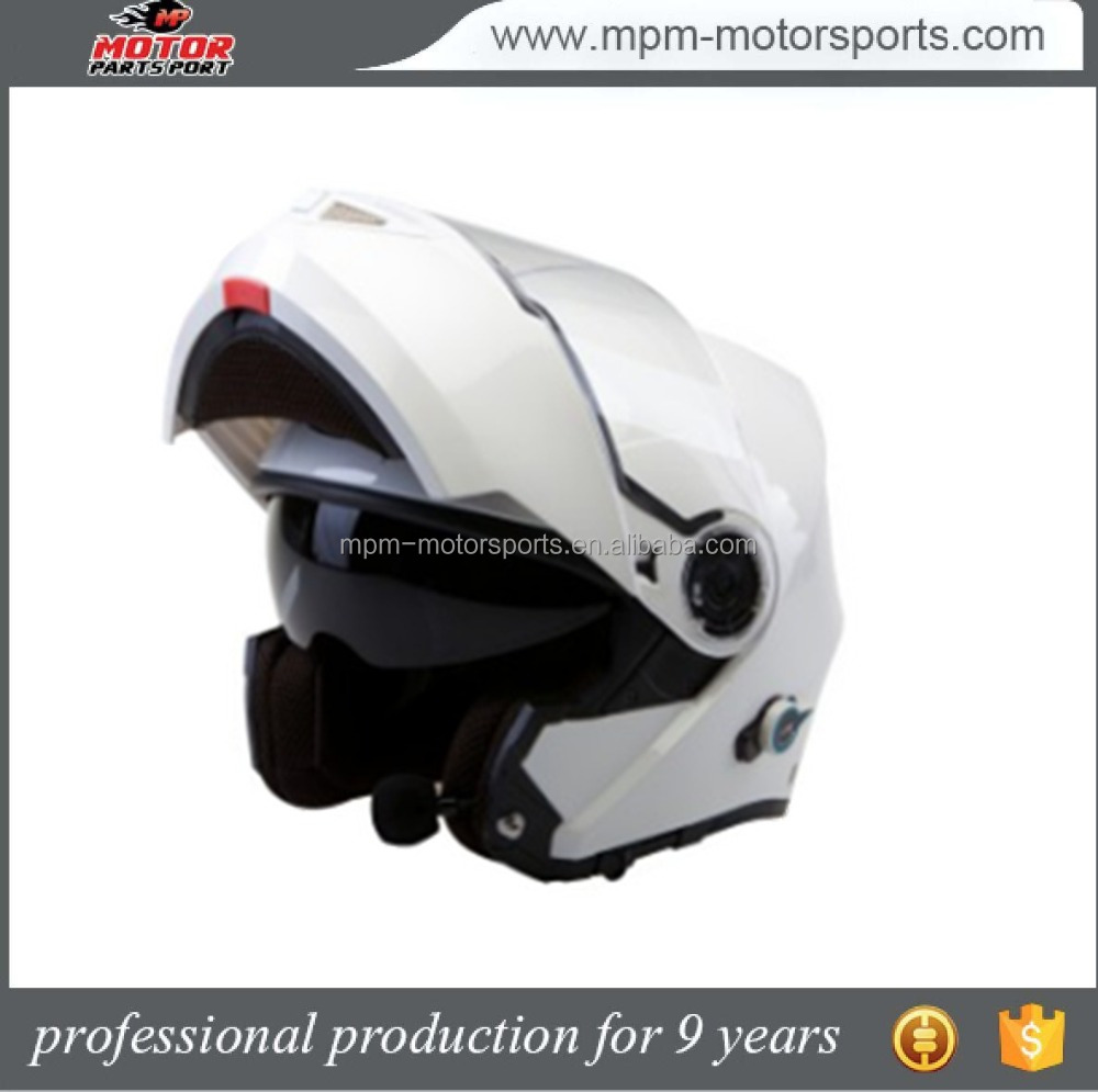 White Bluetooth Flip-Up Motorcycle Helmet With Double Visor