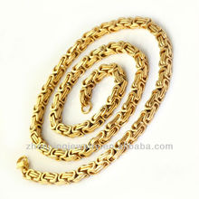 Hot 18K Gold Plated Stainless Steel 5.5mm Byzantine Chain Necklace Fashion