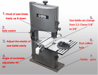 9 inch 0-45 degree mini cut band saw for wood aluminum copper iron