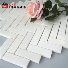 Hot sale herringbone crystal white marble mosaic tile for bathroom and shower