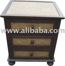 Hard Wood / Rattan Nightstand