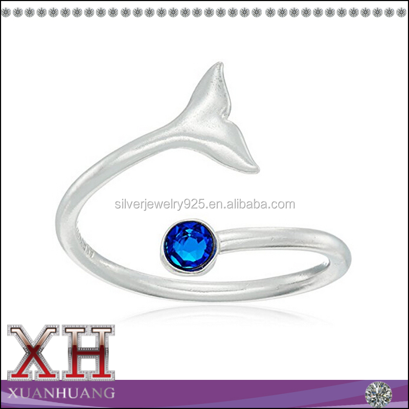 Xuan Huang Silver Jewelry Animal Whale Tail Blue Sapphire Stackable Ring