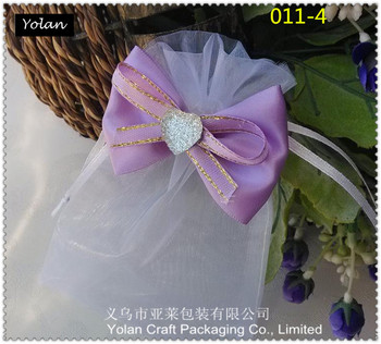 Lanxi organza candy bag with flower for wedding and gift