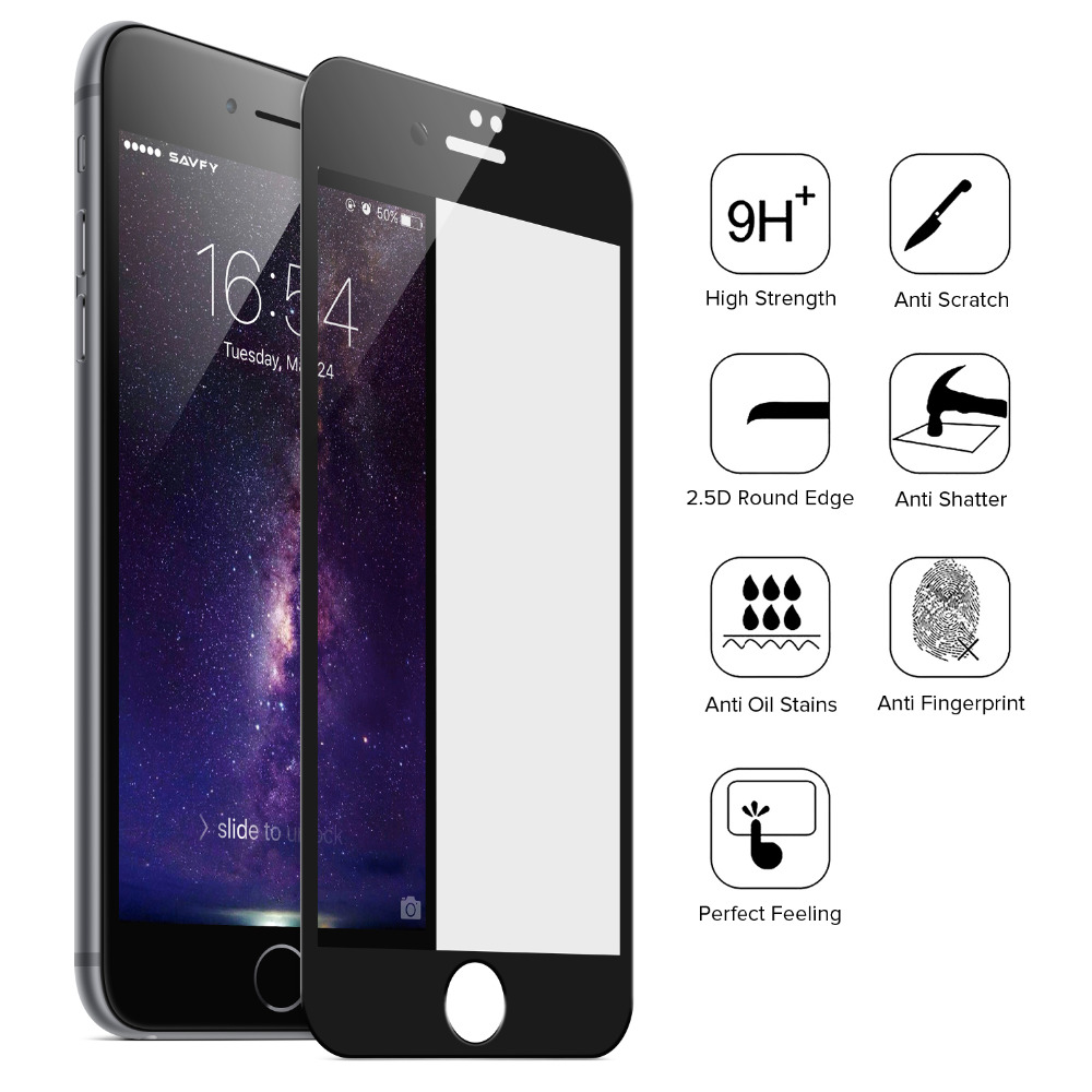 SAVFY Full Coverage Tempered Glass Screen Protector for Apple iPhone 7 4.7 Inch