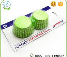 "Blister card packaging polka dot 4.5"" round cupcake cases and cupcake wrappers for supermarket"