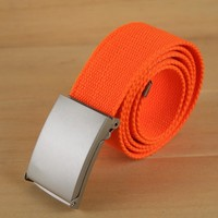 3.8cm colorful Unisex canvas fabric webbing belt with plate
