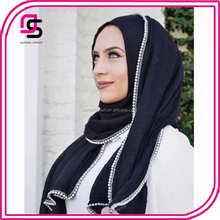 customize wholesale cotton pearls chain edges muslim Hijab scarf shawl