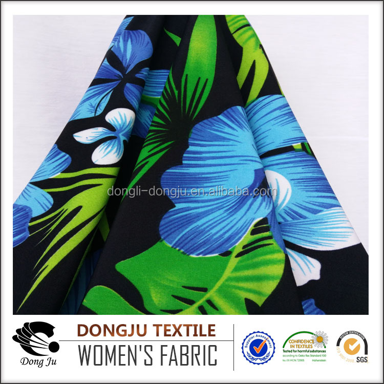 Dongju Textile Knitted Jersey Polyester Spandex FDY Stretch Peacock Pattern Fashion Fabric Print for Garmen
