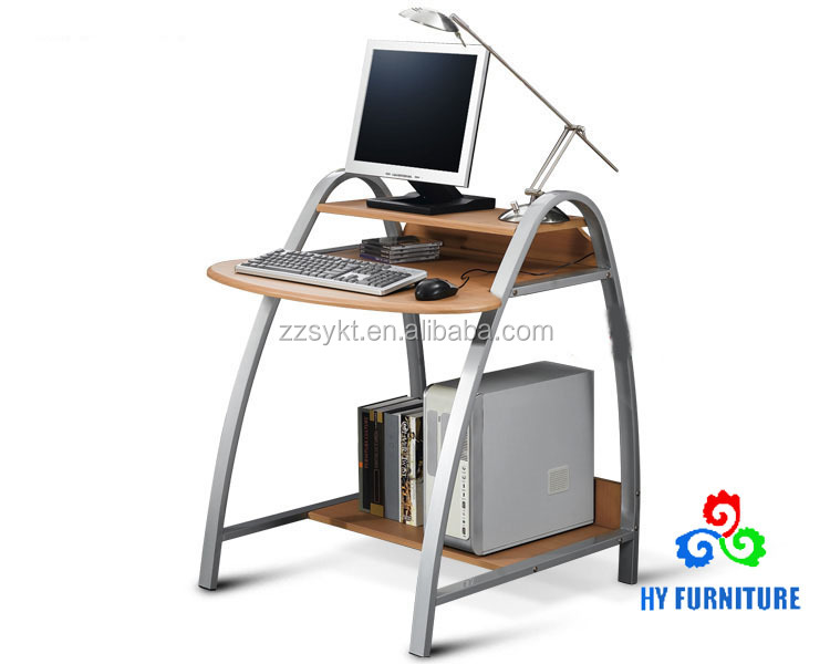 Popular furniture factory models metal pipe frame wooden laptop computer table