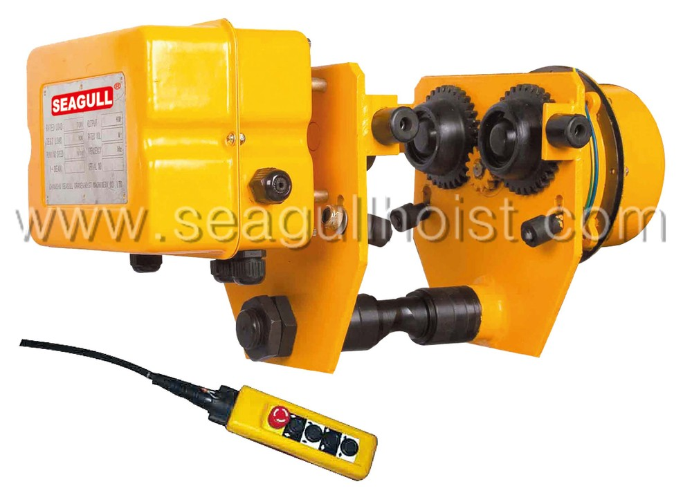 HHBD210 1 ton 1 phase electric motor beam travelling driven Trolley work with seagull electric hoist