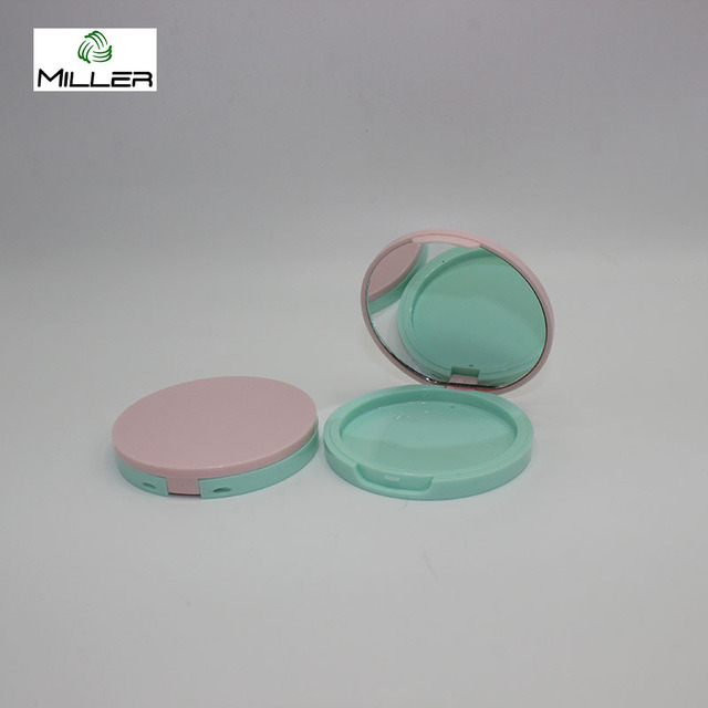 Logo print round empty cosmetic compact eyeshadow palette case with mirror inside
