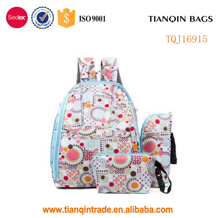 Fashion Cute Antibacterial Baby Diaper Bag Mommy Nappy Backpack With Bottle Bag and Purse