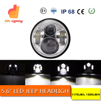 4X4 car accessories off raod 5.6inch round angel eyes halo led headlight for jeep wrangler