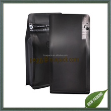 Popular eight side seal coffee packaging box pouches, flat bottom standing coffee bean bags with valve
