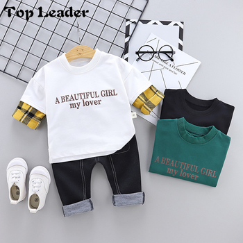 Top Lader 2019 Spring New Boy Cartoon Print Letter Plaid Two-piece Suit Set Children's Suit Kids Clothing set