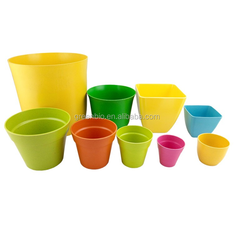 With saucer natural bamboo fiber plant/garden/bio/flower pots