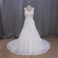 Sequins Beaded simple design ball grown wedding dress