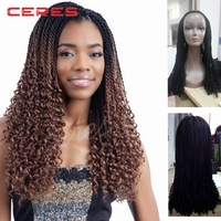 2016 new style factory price synthetic lace front crochet braid wig, havana mambo twist braid synthetic lace front wig