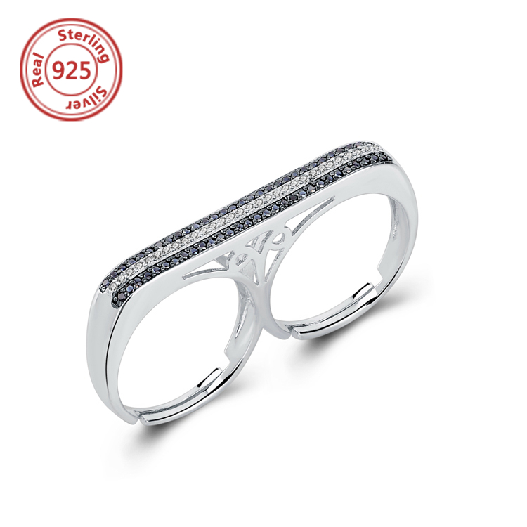 Sterling silver cz pave Two Fingers rings Women Wedding Party Fashion Jewelry