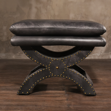 Retro Toscane Do Old Leather Footstool with Rivets