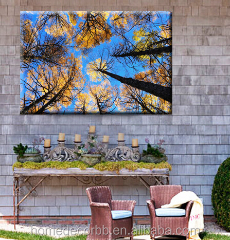 Beautiful forest painting pictures tree digital printing wall art for out door garden decor waterproof canvas art work