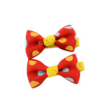 Hot Candy Color Solid Dot Flower Print Ribbon Bow Hairpin BB Hair Clips for Baby Girls Kids Hair Accessories