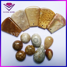 New Arrival Special Effect Natural Loose Chrysanthemum Jade Coral Gemstone