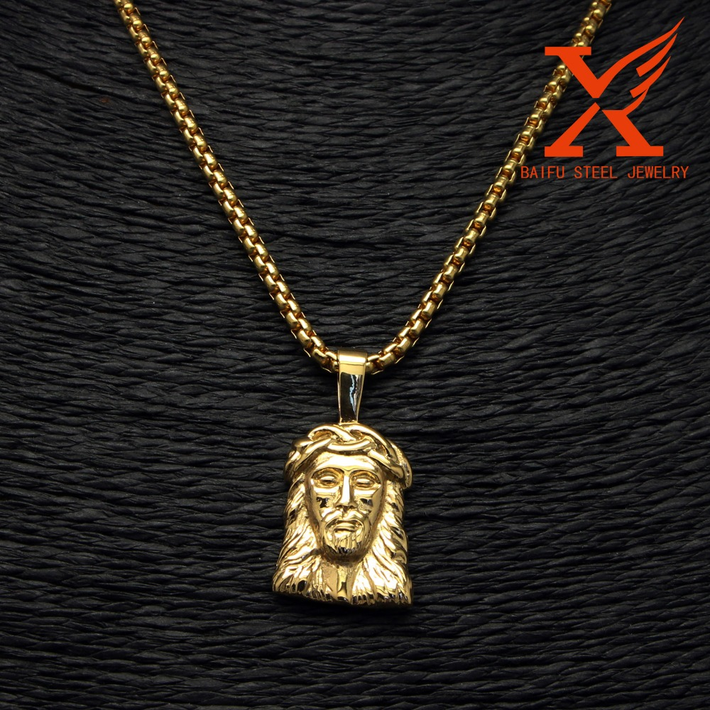 2016 Fashion High Quality Religious Chirstian Jewelry Stainless Steel Micro Small Gold Jesus Head Pendant Jewelry Findings
