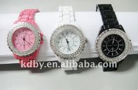 Imitational ceramic watches ladies silver crystal