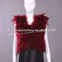 Ostrich Feather vest/waistcoat Dark Red 2012-2013 top fashion