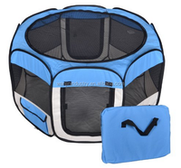 2015New Small Blue Pet Dog Cat Tent Playpen Exercise Play Pen Soft Crate