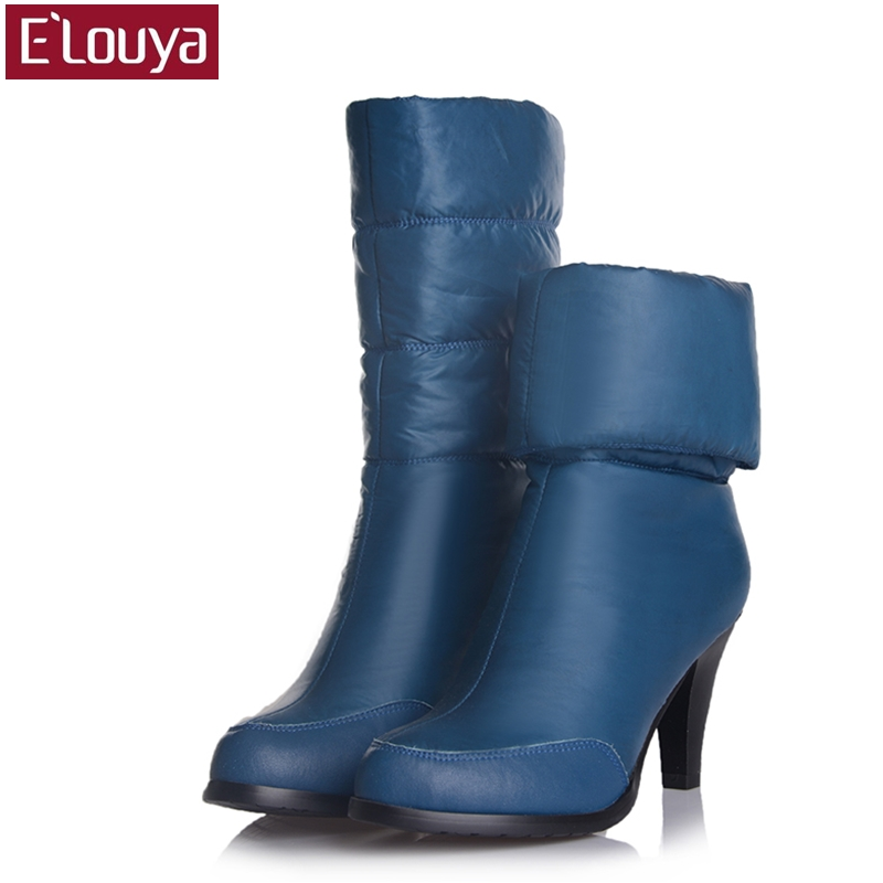 2017 women winter boot high heel shoes lady cotton boots