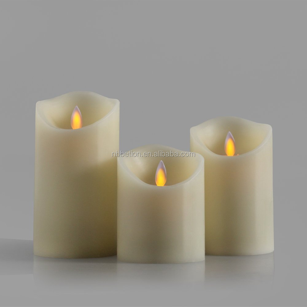 3pcs Dancing Flame LED Candles with timer moving wick led candles Set of 3 Moving Wick Flameless Candles with Remot