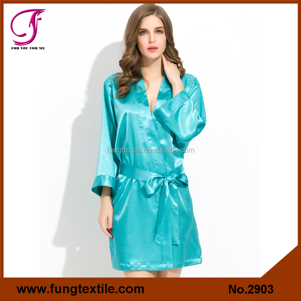Fung 2903 Factory OEM Any Color Wedding Bridesmaid Plain Satin Robe